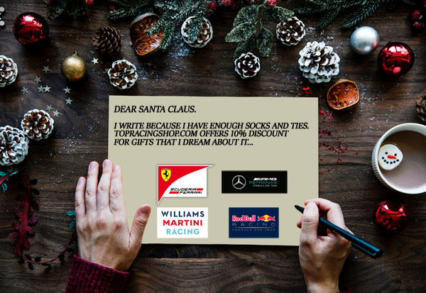 The perfect Christmas gift!  10% rebate on the latest collection F1 Teams.